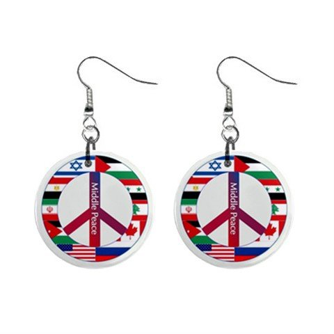 World Flags Peace Sign  Dangle Button Earrings Jewelry 1 inch Round 14881818