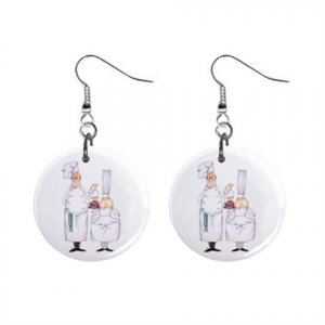 Two Chefs Dangle Earrings Jewelry 1 inch Buttons 16452573