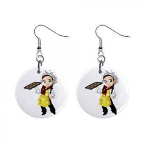 Baker Girl Bakergirl Waitress Dangle Earrings Jewelry 1 inch Buttons 16452574