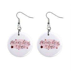 Accounting Diva Dangle Earrings Jewelry 1 inch Buttons 16452576