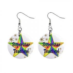 Superstar Teacher Award Dangle Earrings Jewelry 1 inch Buttons 16452714