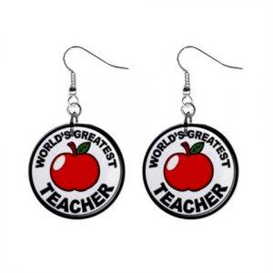 Award World's Great Teacher Dangle Earrings Jewelry 1 inch Buttons 16452715