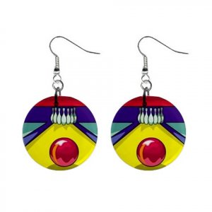 Bowling Lane Alley Dangle Earrings Jewelry 1 inch Buttons 13705615