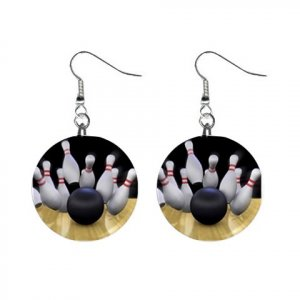 Bowling Strike Bowl Pins Dangle Earrings Jewelry 1 inch Buttons 13705616