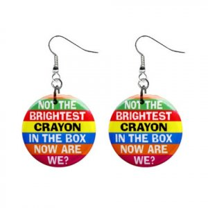 Not the Brightest Crayon... Dangle Button Earrings Jewelry 1 inch Round 20113121