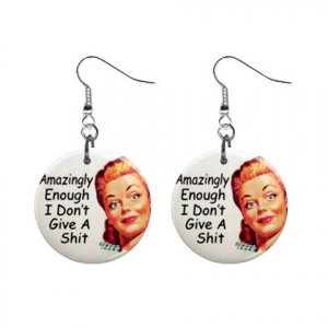 Amazingly Enough... Dangle Button Earrings Jewelry 1 inch Round 20113376