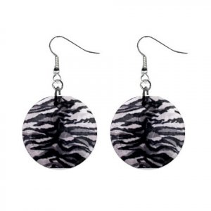 WHITE TIGER Pattern Dangle Button Earrings Jewelry 1 inch Round 13597026