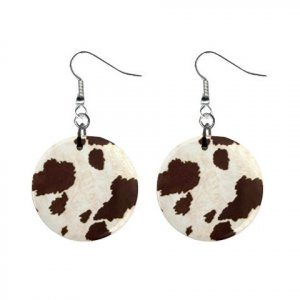 Brown and White COW Pattern Dangle Button Earrings Jewelry 1 inch Round 13597244