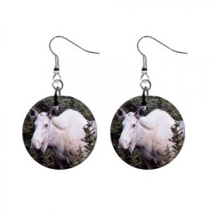 White Moose Dangle Button Earrings Jewelry 13894489