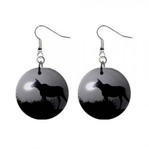 Moose Silhouette Black and White Dangle Button Earrings Jewelry 13894488