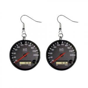 Race Car Speedometer Dangle Button Earrings Jewelry 1 inch Round 20119391