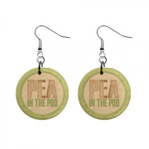 Pea In Pod Baby Shower Gift Dangle Button Earrings Jewelry 1 inch Round 20119826