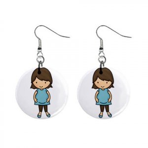 Brunette Pregnant Mom Baby Shower Gift Dangle Button Earrings Jewelry 1 inch Round 20119831