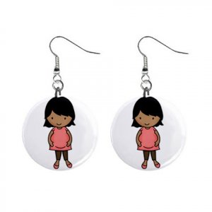 African American Pregnant Mom Baby Shower Gift Dangle Button Earrings Jewelry 1 inch Round 20119835