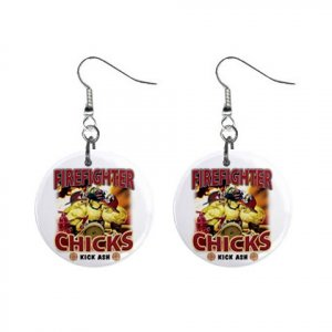 Fire Fighter Chick Girl Chickies Dangle Earrings Jewelry 13019930