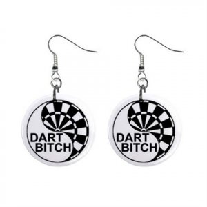 "New Dart Player Bitch Design Dangle Button Earrings Jewelry 1"" Round 16503180"