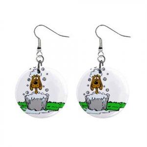 New Dog Groomer Dog in Tub Dangle Earrings Jewelry 14430698
