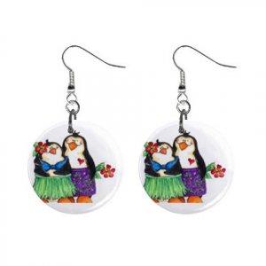 Hawiian Penguins Dangle Earrings Jewelry 1 inch Buttons 13152938