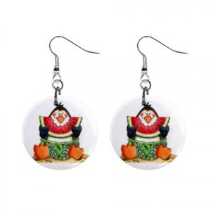 Watermellon Penguins Dangle Earrings Jewelry 1 inch Buttons 13152941