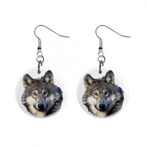 WILD WOLF Dangle Earrings Jewelry 1 inch Buttons 13597031