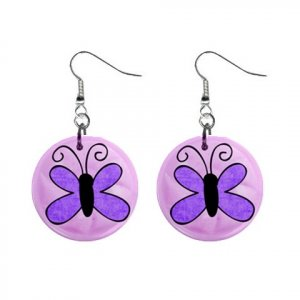 PURPLE BUTTERFLY Dangle Earrings Jewelry 1 inch Buttons 21493395