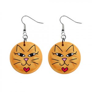 CARTOON CAT FACE Dangle Earrings Jewelry 1 inch Buttons 21493396