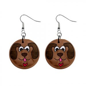 CARTOON DOG FACE Dangle Earrings Jewelry 1 inch Buttons 21494895