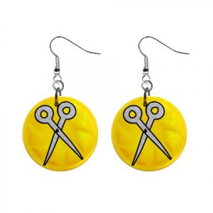 SCISSORS Design Dangle Earrings Jewelry 1 inch Buttons 21495434