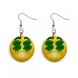 """Happy Face with Dollar Signs 1"""" Round Button Dangle Earrings Jewelry 24905247 smileydollars"""