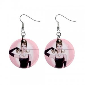 Breakfast at Tiffany's Audrey Hepburn Dangle Button Earrings Jewelry 1 inch Round 17174413 tiffanys
