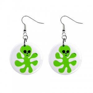 Cartoon Alien Blob Dangle Button Earrings Jewelry 1 inch Round 12794509