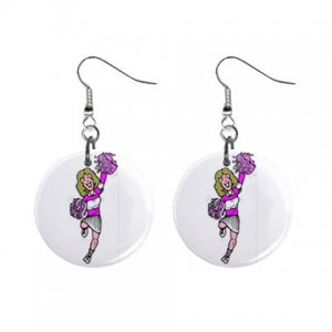 Cheer Leader Dangle Button Earrings Jewelry 1 inch Round 31314326