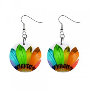 Rainbow Flower Dangle Button Earrings Jewelry 1 inch Round 31314337