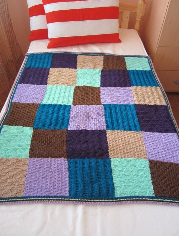 Knitted Squares Afghan Baby Crib Blanket