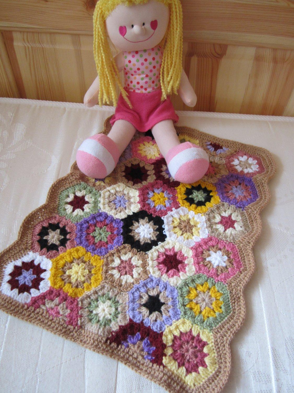 Granny Square American girl doll blanket