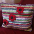 Crochet Striped Pillow Multicolor Handmade Cushion