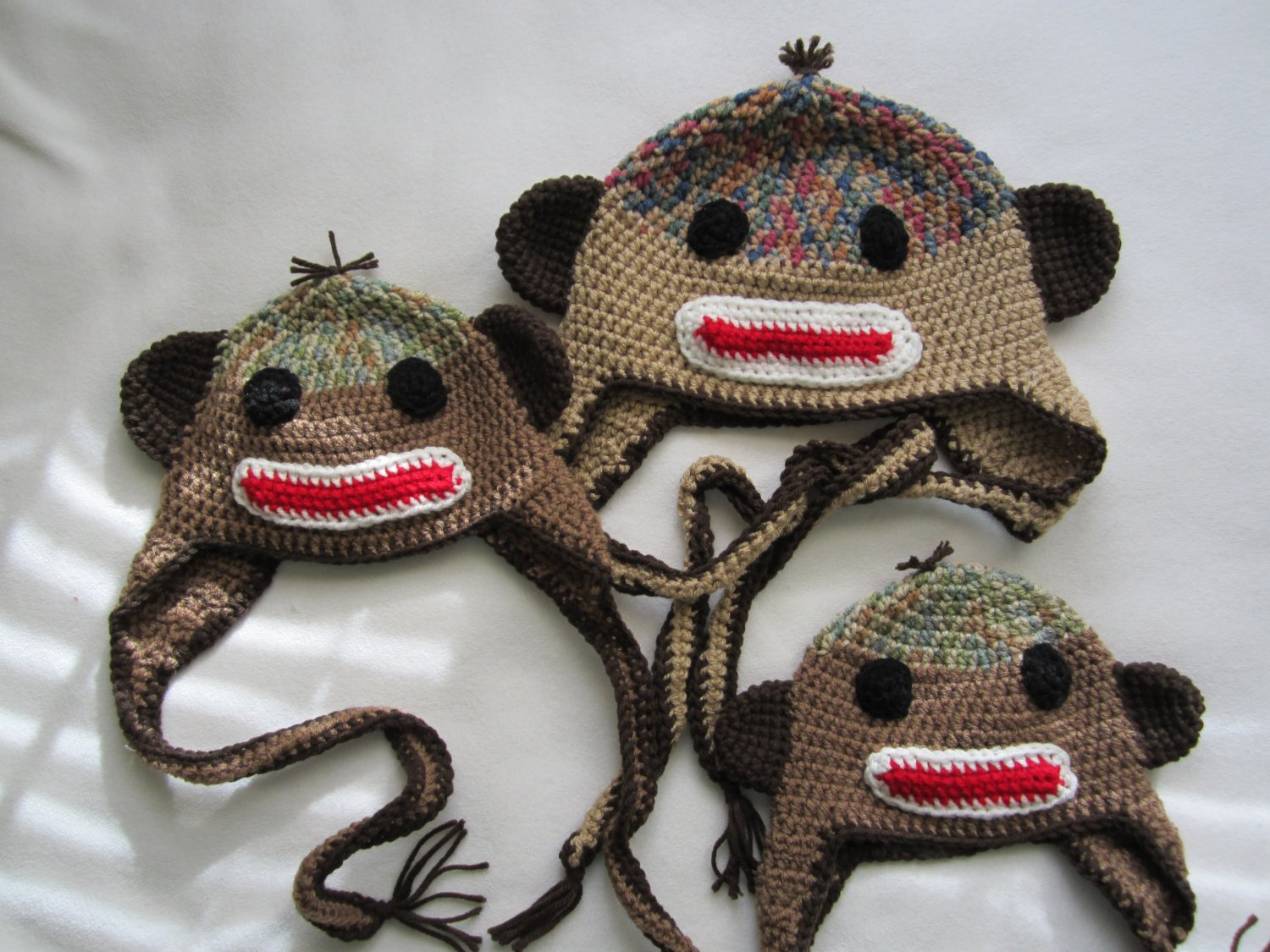 Crochet earflap monkey hat