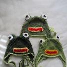 Crochet earflap frog hat