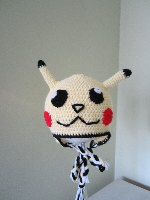 Crochet earflap pikachu hat