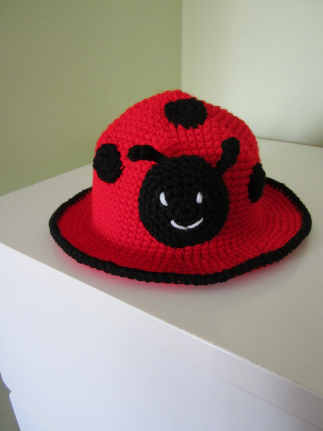 Crochet lady bug hat