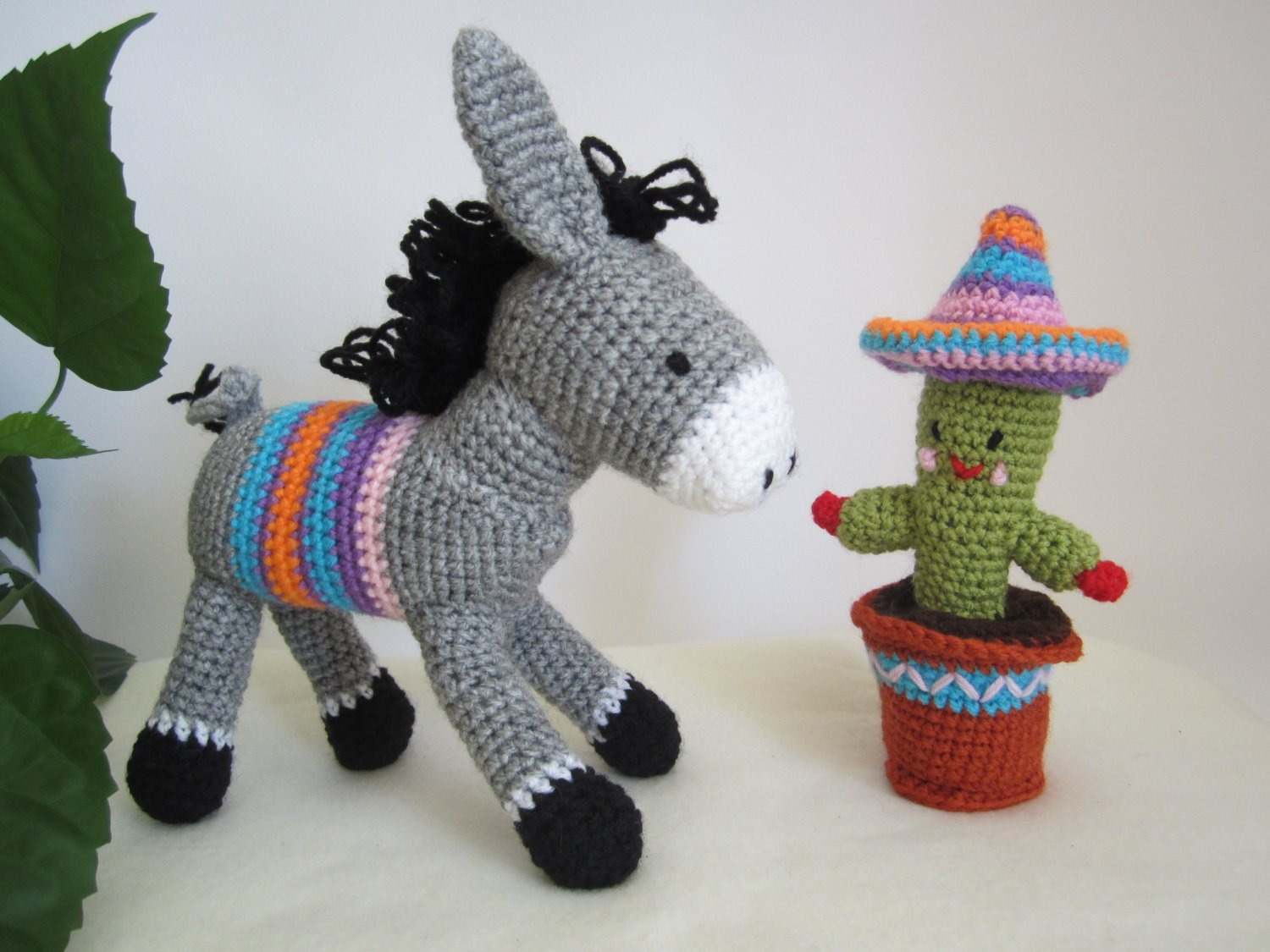 Set of crochet donkey and cactus