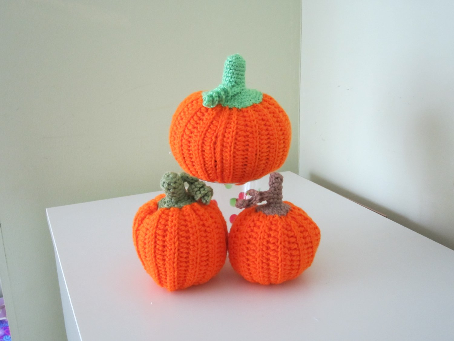 Crochet .Set of 3 pumpkins