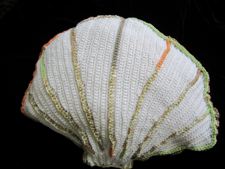 Crochet Oyster scallop pillow