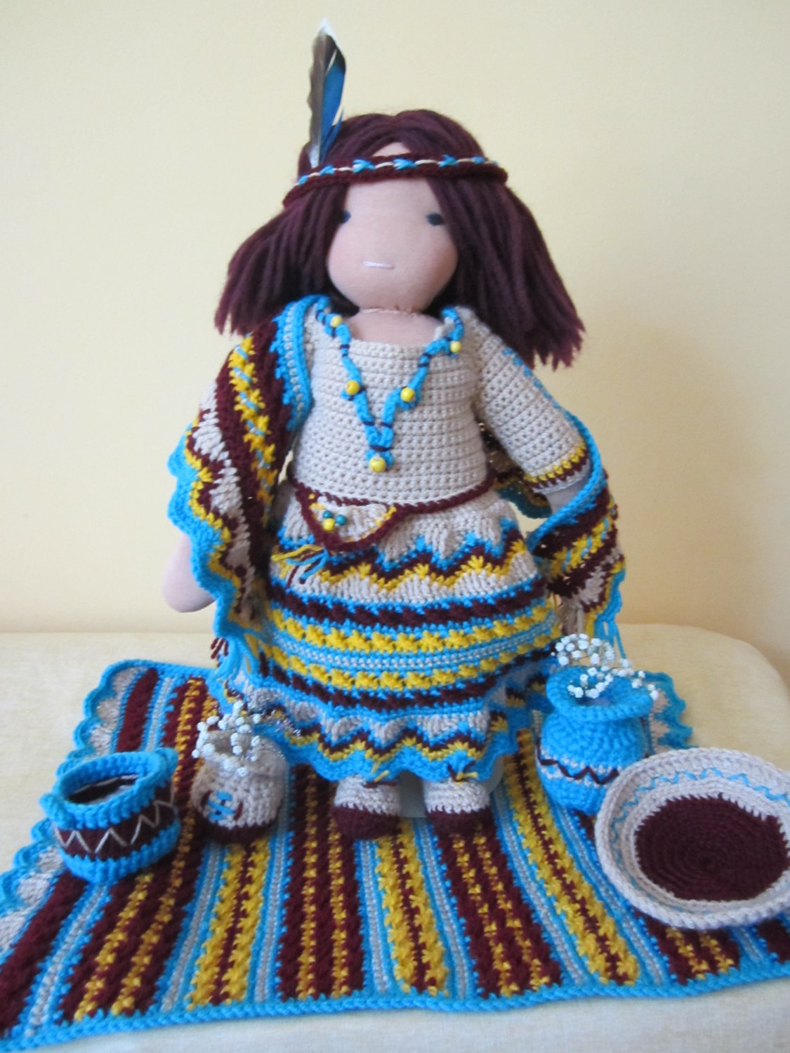 Crochet Indian Style set for 16 inches Waldorf doll