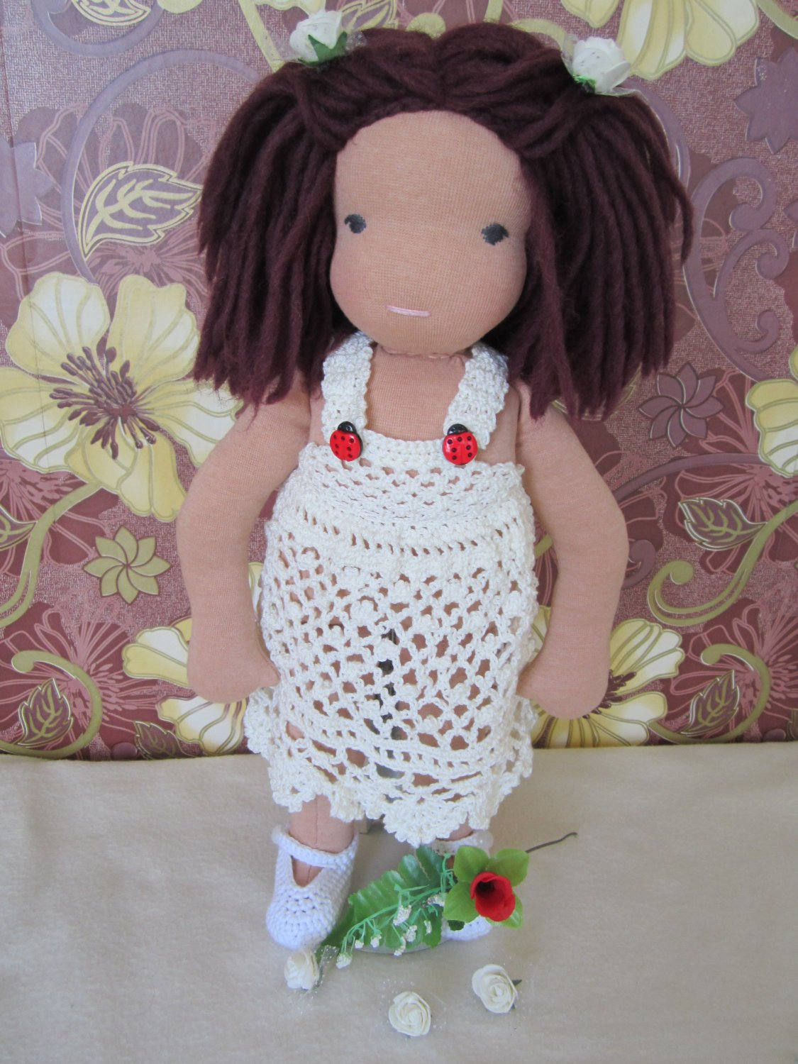 Crochet dress for 16 inches  Waldorf doll in cream color