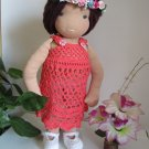 Crochet dress for 16 inches  Waldorf doll in coral red