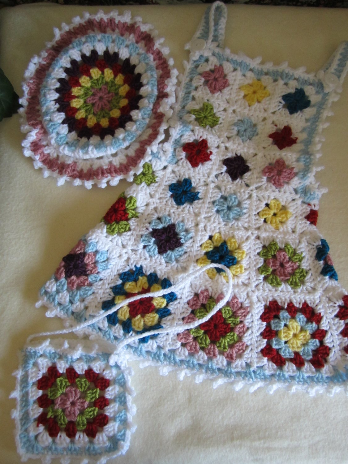 Crochet set for 18-24 months girl ... Granny square dress, hat, purse