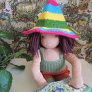 Crochet sombrero hat and romper 16 inches  Waldorf dolls