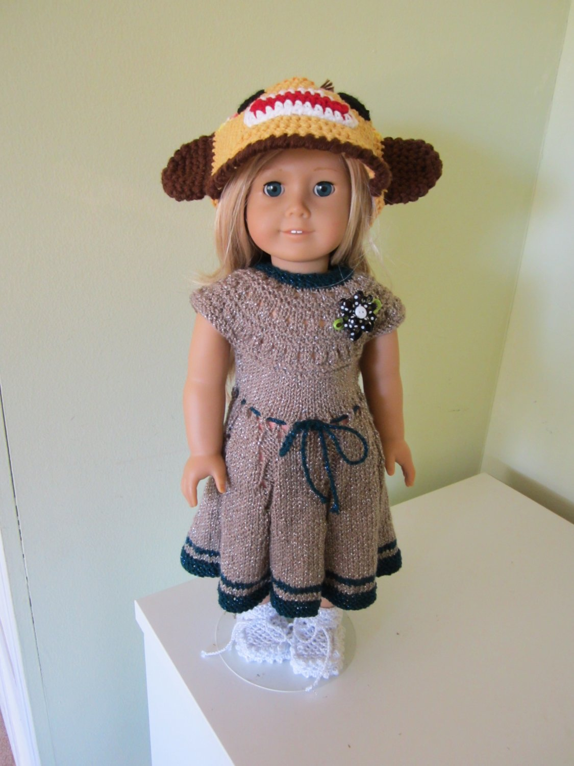 Crochet  monkey hat for American girl doll and Waldorf doll