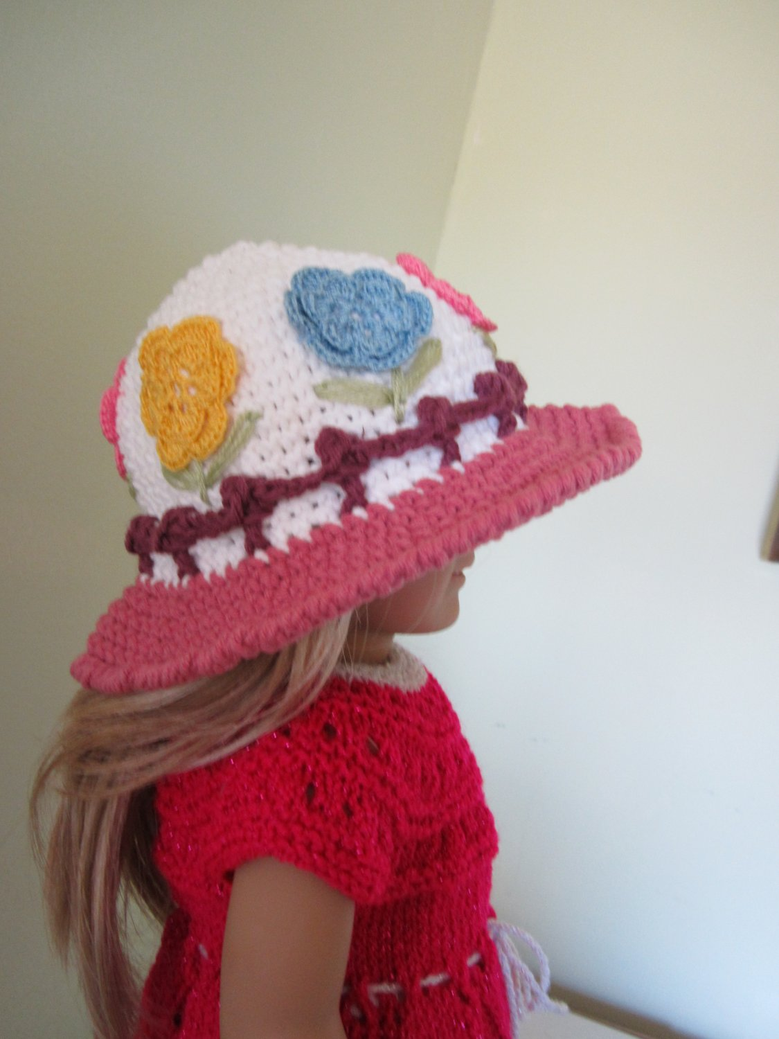 Crochet hat for American girl doll and Waldorf doll